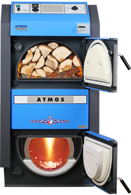 ATMOS GSE Holzvergaser (DC18GSE, DC22GSE, DC25GSE, DC30GSE, DC40GSE, DC50GSE) - Bild mit Feuer