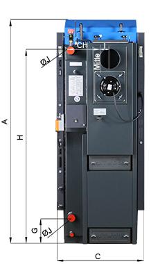 ATMOS KCSPL Kombikessel - KC25SPL - Bemassung - Rückansicht