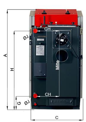 ATMOS RS Holzbrikettvergaser DC24RS und DC30RS - Bemassung Rückansicht