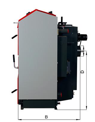 ATMOS RS Holzbrikettvergaser DC24RS und DC30RS - Bemassung seitlich