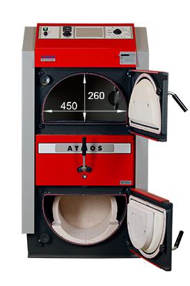 ATMOS RS Holzbrikettvergaser DC24RS und DC30RS - Bemassung von vorn