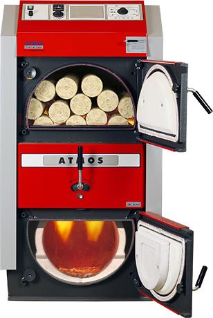 ATMOS RS Holzbrikettvergaser DC24RS und DC30RS - Bild mit Feuer