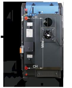 ATMOS GSE Holzvergaser (DC18GSE, DC22GSE, DC25GSE, DC30GSE, DC40GSE, DC50GSE) - Bemassung Rückansicht
