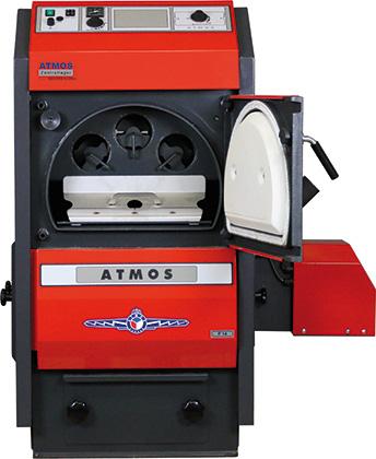 ATMOS P Pelletkessel - P14 - P21 - P25 - mit geöffneter Brennraumtür