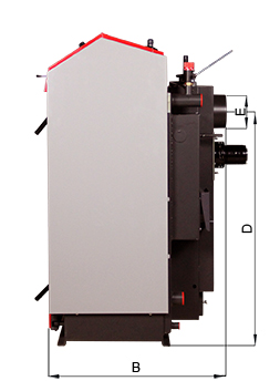 ATMOS GS Holzvergaser Serie (GS20, GS25, GS32, GS40) - Bemassung seitlich