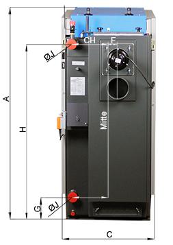 ATMOS GSX Holzvergaser (GSX50 und GSX70) - Bemassung Rückansicht