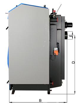 ATMOS GSX Holzvergaser (GSX50 und GSX70) - Bemassung seitlich