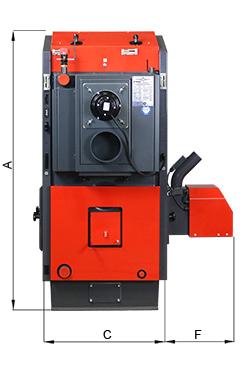 ATMOS Pelletkessel mit Holznotbetrieb - Bemassung des Kessels - Rückansicht