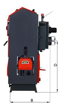 ATMOS Pelletkessel mit Holznotbetrieb - Bemassung des Kessels - Seitenansicht