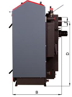 ATMOS SE Holzvergaser - ATMOS DC30SE - Bemassung seitlich