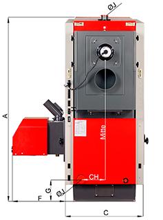 ATMOS P80 Pelletkessel - Bemassung - Rückansicht