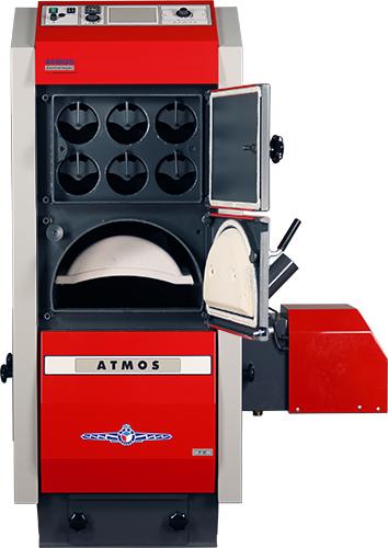 ATMOS P80 Pelletkessel - Imagebild mit geöffneten Abgaswärmetauscher